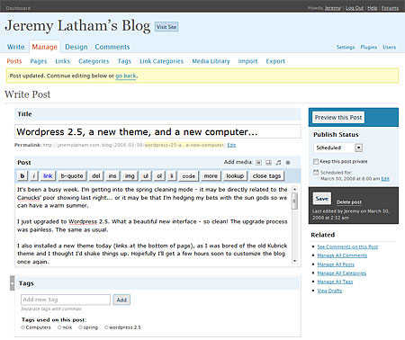 Wordpress 2.5 Write Post screen shot