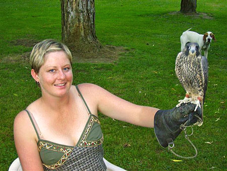 Bridget with a falcon at the farm.