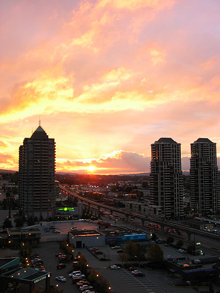 Sunrise over Lougheed and Willingdon in Burnaby, BC