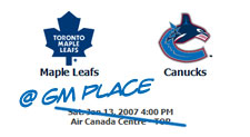 Canucks vs. Leafs on Hockey Day in Canada