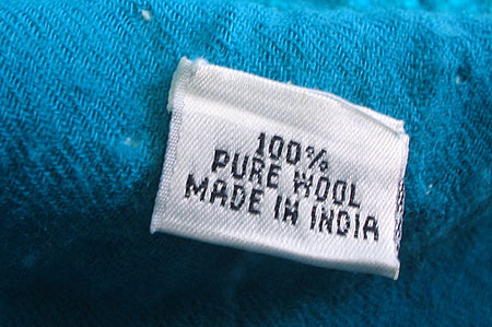 Made in India - 100% wool tag in sweater