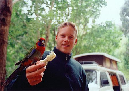 Jeremy Latham with a bird in hand in Australia's Grampian mountains.