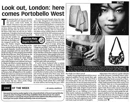 Portobello West article in the Georgia Straight