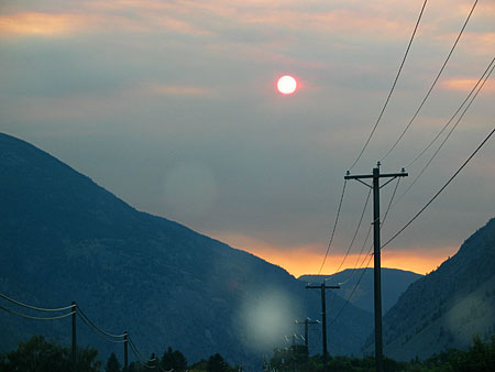 Sun and smoke from the Tatoosh forest fire - taken near Princeton, BC.